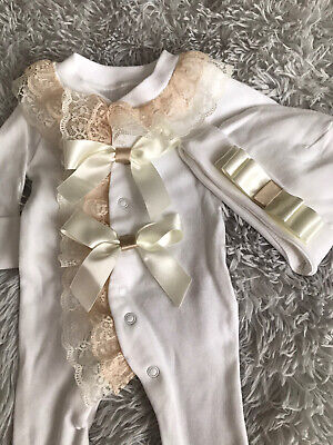 Newborn Baby Girls Babygrow And Hat Set  Pretty Frilly Lace Bows Romany • 12.99£