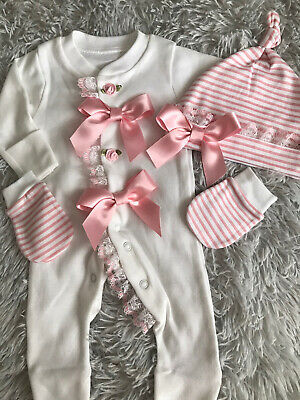 Newborn Baby Girls Babygrow Hat And Mitts Pink Frilly Lace Bows Romany Pretty • 12.99£