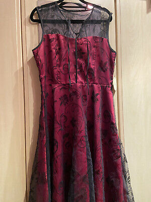 Lindy Bop Dress Size 14 Vintage Red Black Lace Swing Party Pin Up • 5£