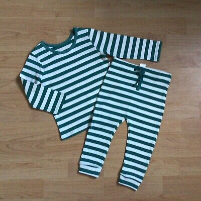 Baby Boy Clothes 9-12 Months New Outfit Green White Stripy Top Matching Bottoms • 2.20£