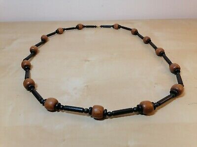 Brown & Black Wooden Bead Necklace Beaded • 6.99£
