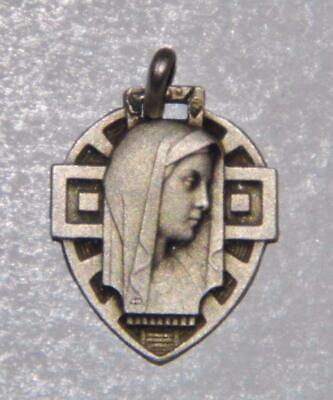 Sterling Silver Art Deco Holy Medal Our Lady Blessed Virgin Mary Prayer Catholic • 0.99£