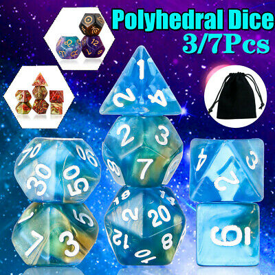 AU10.99 • Buy 3/7Pcs Polyhedral Dices For Dungeons Dragons Games D20 D12 D10 D8 D6 D4 W/ Pouch
