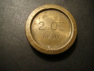 VINTAGE OLD AVERY  2oz BRASS SCALES WEIGHT  SWEET SHOPS CHEMISTS POST OFFICE  • 1.55£