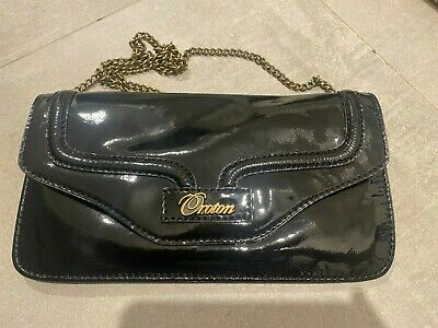 AU25 • Buy Oroton - Black Patent Leather Clutch W Chain