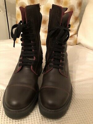 Zara Burgundy Leather Lace Up Zip Military Biker Ankle Boots UK4 RRP£89.99 • 17.99£