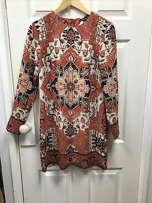 Warehouse Size 12 Ladies Dress Orange Mix Long Sleeve • 8£
