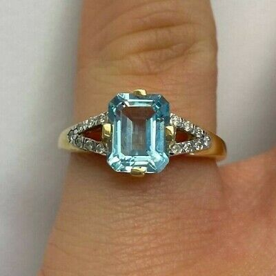 Ivy Gems 9ct Yellow Gold Emerald Cut Blue Topaz And Diamond Ring Size J • 137.99£