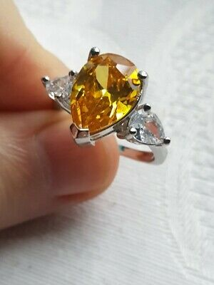 Womans Size R 1/2. Citrine & White Topaz Pear Shape 925 Silver Ring • 7.97£