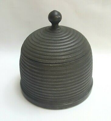 Unusual Victorian Pewter Beehive Lidded Caddy James Dixon & Sons, Antique C1860 • 140£