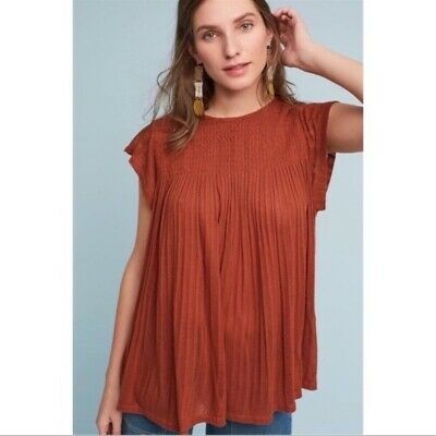 $ CDN34.32 • Buy AKEMI + KIN Large Blouse Rust Brown Flowy Short Sleeve Pleated Anthropologie