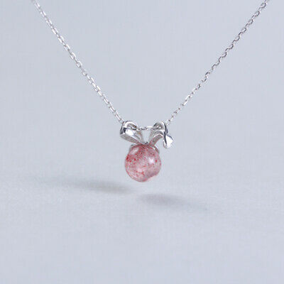 £5.99 • Buy Bunny Ears Rabbit Silver Plated Necklace Choker Pink Strawberry Stone Gift UK