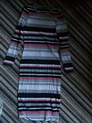 Stretch Fitted Straight Striped Dress Size 8 • 3.75£