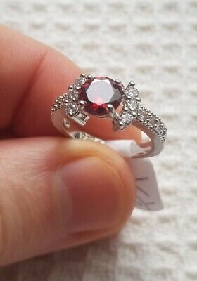 Womans Size Q 1/2. Red Ruby & White Topaz 925 Silver Ring • 6.98£