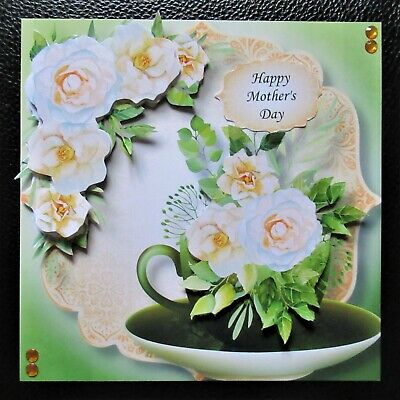 £1.70 • Buy Handcrafted 3d Card Topper Birthday Mother's Day Floral Teacup Yellow