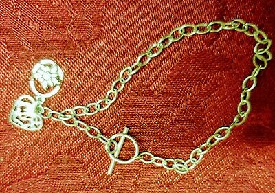 Sterling Silver T Bar Bracelet With Heart And Edelweiss Charms • 6.90£