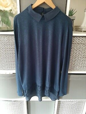 Ladies Pretty Blue Collared Top Size 20 From TU Lace Effect • 6.99£