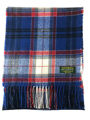 Pure Lambswool Blue & White Tartan/Check Scarf Made In Scotland By Ingles Buchan • 9.99£