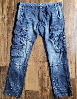 PRPS Goods & Co Paint Splatter Fly Button Distressed Cargo Jeans Men 38 X 34 • 72.35£