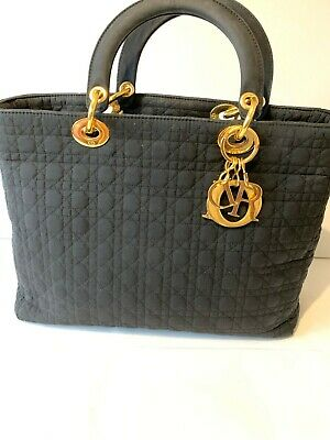 Christian Dior Lady Cannage Hand Bag Canvas Black Women's, Genuine, Authentic • 590£