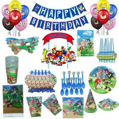 Sonic The HedgehoG Birthday Party Supplies Tableware Balloon Decoration UK  • 5.99£
