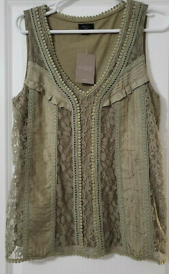 $ CDN30.57 • Buy Deletta Anthropologie Top In Moss NWT Size M Sleeveless Lacey Romantic Boho