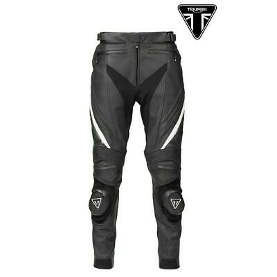 Pants Motorcycle Man Leather With Guards Original TRIUMPH Triple Black • 396£