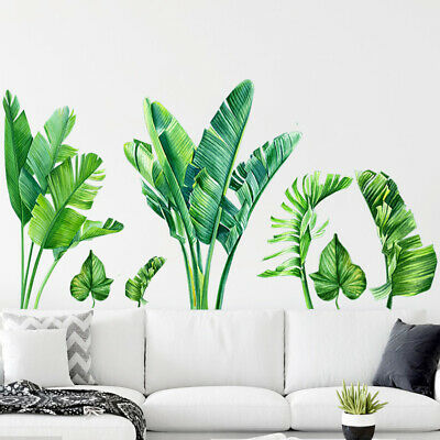 Removable Wall Stickers Nursery Tropical Plants Green Leaves Plant Art Mural • 8.41£