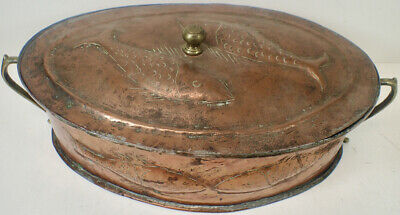 $275 • Buy Antique Handmade French Copper Poissoniere Fish Poacher With Lid & Brass Handles