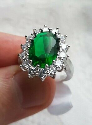 Womans Size K. Emerald & White Topaz 925 Silver Plated Princess Diana Ring • 5.48£