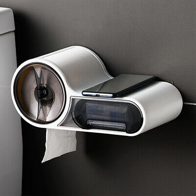 AU28.65 • Buy Bathroom Toilet Paper Holder Tissue Box Dispenser Wall Storage Box Free Punching