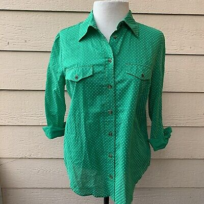 $ CDN19.09 • Buy Anthropologie Maeve Polka Dot Button Down Green Casual Shirt Top Long Sleeve 6