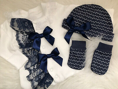 Newborn Baby Babygrow Hat And Mitts Set Navy And White Lace Bows Romany • 12£