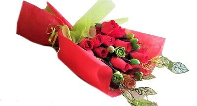 Endless Creations Valentine's Bouquet - Red Wooden Roses - Buds - Metal Leaves  • 9.75£