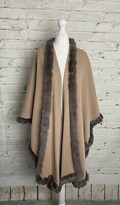 N PEAL 100% SCOTTISH Cashmere Shawl Wrap Cape - Real Fur Trim - MINT CONDITION ! • 51£