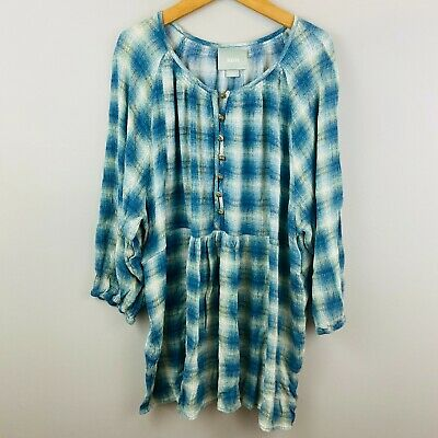 $ CDN25.98 • Buy Anthropologie Maeve Blouse XL Peasant Top Plaid Green Blue Buttons