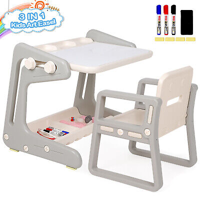 Kids Safety Study Desk Chair Set Adjustable Storage Drawing Table With Free Gift • 42.99£