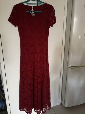 BNWT STELLA MORGAN Fitted /flared Long Stretch  Red Lace Lined Dress,size 10 • 12.99£