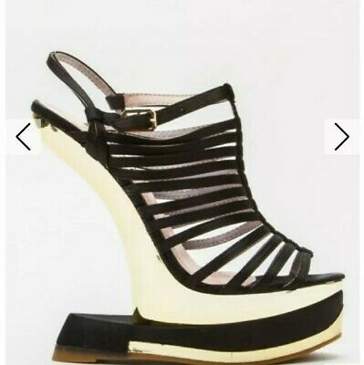 Ornamental Curve Wedge Open Toe STRAPPY Sandals UK 2.5 ....................  /13 • 9.89£