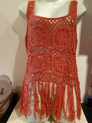 F & F. Dark Coral Knitted Vest Top With Tassles.  Size 12-14? • 1.60£