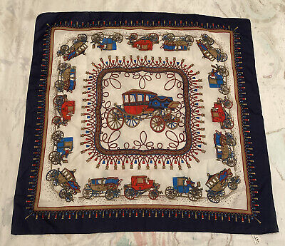 Silk Style Italian Carriage Print Vintage Scarf • 3.90£