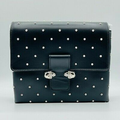 AU1006.89 • Buy Alexander McQueen Black Napa Leather Studs Twin Silver Skull Bag 439450 1000