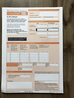£2.50 • Buy 5x Hmrc P60 Forms For Tax Year 2018/2019