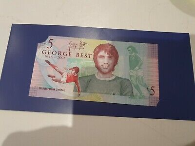 UNCIRCULATED Commemorative £5 GEORGE BEST FIVE POUND NOTE WITH ORIGINAL WALLET  • 8.50£
