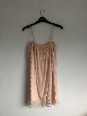 Topshop Peach / Pink Pleated Cami Dress Size 8 • 4£