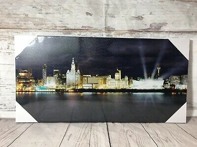 £13.99 • Buy Liverpool City Water Front Canvas Picture Modern Skyline Ready To Hand Wall Art
