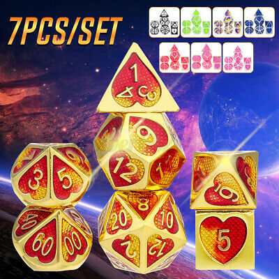 AU21.99 • Buy 7 Pcs Zinc Alloy Polyhedral Dice For Dungeons Dragons Game D20 D12 D10 D8 D6 D4