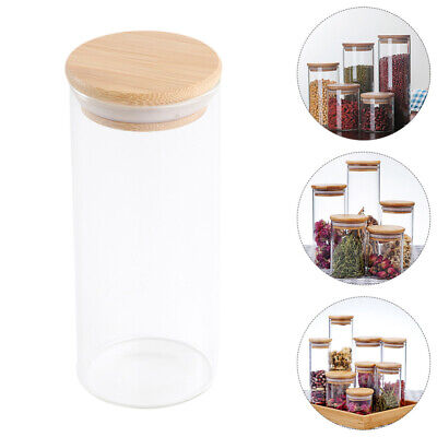 2PCS Glass Storage Jars With Bamboo Lids Airtight Kitchen Food Cans 250ml-450ml • 11.35£