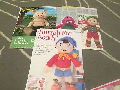 Toy Knitting Patterns By 4. Noddy Jakers Barney And Tiny • 2£
