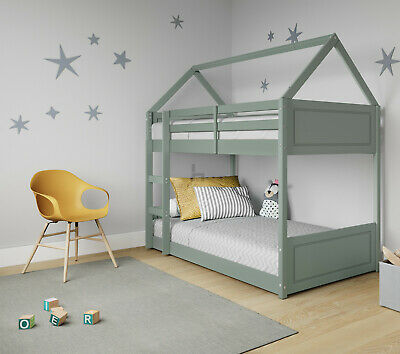 Bunk Bed Cabin Single Mid Sleeper Kids With Desk And Storage Unit Wooden Ladder • 239.99£